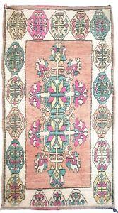 80's Vintage Morocco Handmade Rug 3.9 x 8.4 Peach Cream Pink Berber Wool Carpet