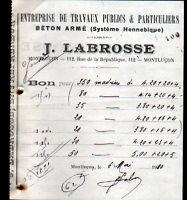 """MONTLUCON (03) Ets de TRAVAUX PUBLICS / BETON armé """"Joseph LABROSSE"""" en 1910"""