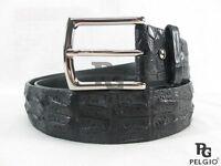 "Genuine Crocodile Alligator Double Hornback Skin Leather Men Belt 46"" Long Black"