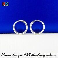925 Sterling Silver 10mm Small Tiny Hoop Sleeper Earrings Studs Nose Rings Pairs