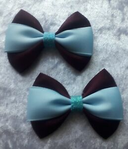 Child's kids accessories hair clip  girls school ribbons set of 2 clip