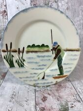 Jane & Stephen Baughan Aston Pottery Fisherman Fishing Hand Painted Plate