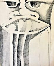 Painting by Nazario Salazar. Retrato de Un Tal Musico, 1970. Ink on paper.Signed