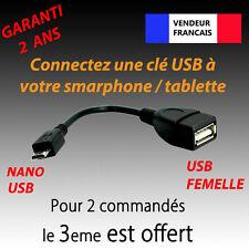 CABLE / ADAPTATEUR HOST OTG USB A FEMELLE VERS USB NANO MALE POUR CLE USB