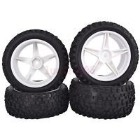 4PCS RC 1/10 Off-Road Buggy Car Rubber Tyre Tire & Wheel Rim white 66001-66021