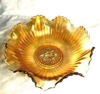 "Vintage Carnival Glass Ruffled edge Bowl,ribbed sides 7 1/2"" Marigold Iridescent"