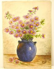 Bouquet de fleurs aquarelle still life flowers nature morte 1932 signé FD c 1930