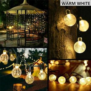 5-50M LED Solar Lichterkette 20-500 Kugeln Außen Garten Beleuchtung Wasserdicht