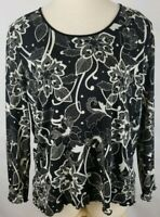 LIZ CLAIBORNE Womens Plus 1x Black White Floral Sheer Lined Long Sleeve Top New