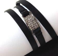 MICHAEL Kors Triple Wrap Bracelet Leather Black Silver Tone Crystal NWT