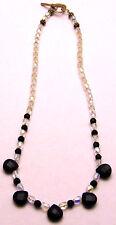 """Vintage 15.5"""" Necklace Clear Shimmer Beads & Blue Sandstone 925 Sterling Silver"""