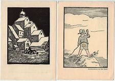 Paul Pauer - 2 ungebrauchte Künstlerkarten Österreich ca. 30er/40er Jahre