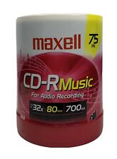 CD-R Blank Media 75 Pack Spindle Maxell Audio Music 32x 80 Minute 700MB Player