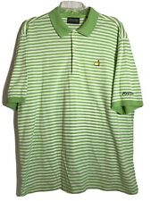 Masters Collection Mens Polo Golf Shirt Green Striped Augusta Size Large EUC