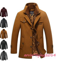 Stylish Men's Wool Blend Parka Winter Warm Coat Outerwear Thick Jacket overcoat
