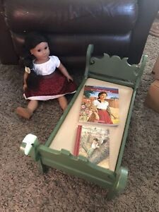 American Girl Josefina Doll with 2 Books &  Pleasant Company Green Sleigh Bed