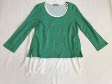 Jones New York Green And White Layered Cotton Top Sz M LKNW
