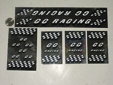 Old school CC Racing bmx bike stickers decals frame fork black white on chrome