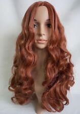 W79 Castaño Mezcla De Jengibre extra largo ondulado peluca superior de piel sintética de aspecto natural