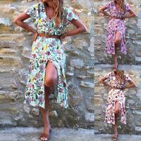 ZANZEA Women Short Sleeve Sundress Floral Print Long Shirt Dress Midi Dress Plus