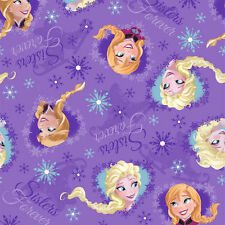 Disney Frozen Sisters Ice Skate Hearts Framed Toss Fabric - by the yard -