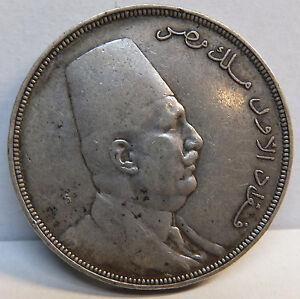Egypt  King Fuad I 20 Piastres AH 1341 1923 Silver Coin Exra Fine Plus  !!!
