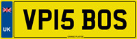 VP IS BOSS NUMBER PLATE INITIALS CAR REG VP15 BOS FEE PAID VICKY VINCE VIV VAL