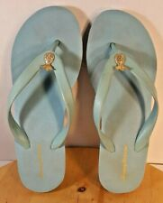 3bde49a81ac TOMMY BAHAMA WEDGE FLIP FLOPS AQUA - GOLD PINEAPPLE TRIM WOMEN SZ 9  PRE-OWNED