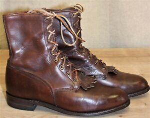 Boots Bottines lacets JUSTIN cuir marron 9C US 7.5 UK 41 EUR made in USA