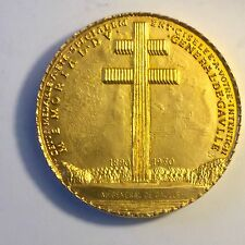 Importante Médaille De De Gaulle Jaeger Doré A L'or Fin En Écrin