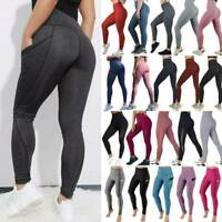 Women/'s Sports Print Yoga Pants Push Up Leggings Scrunch Gym Fitness Trousers A9