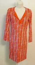 Diane von Furstenberg New Reina Two Bamboo Large Chile Tunic dress 14 orange DVF