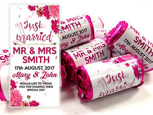 x40 Wedding Favours Personalised Love Hearts Mini Love Sweets Just Married #4