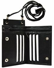 Leather Neck Lanyard ID Badge Holder Mini Cross Body  Bifold Wallet Black New