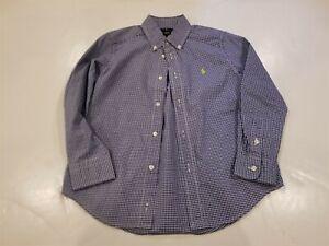 Boys Size 6 Ralph Lauren Blue/White Checkered Button Down Shirt EUC