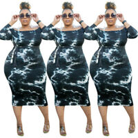 Plus size Women off shoulder tie dyed print bodycon club party casual midi dress