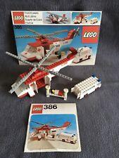 LEGO 386 HELICOPTER & AMBULANCE Complete +Box Instructions - 100% VINTAGE BRICKS