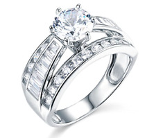 3.75 Ct Round and Baguette Cut Engagement Wedding Ring Solid Real 14K White Gold