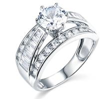 3.75 Ct Redondo y Corte Baguette Anillo de compromiso de boda de oro blanco macizo real 14K