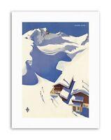 WINTER SNOW SKI CHALET ALPS AUSTRIA Poster Travel Sport Canvas art Prints