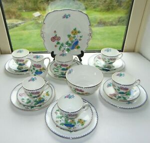 Allertons Ltd Old English China 21PC Teaset Cups Saucers Plates Milk Sugar 1930s