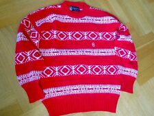 NEW Vtg CONTE OF FLORENCE Red Nordic Wool Sweater Jumper Ski Christmas 50 ITALY