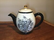 Mud Pie Tea Pot Butterfly Garden Toile hand Crafted Ivory Black Polkadot 2.5 Cup