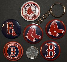"""Set of 5 1 1/2"""" Pinback Buttons Boston RED SOX + Key Chain Retro Keychain"""