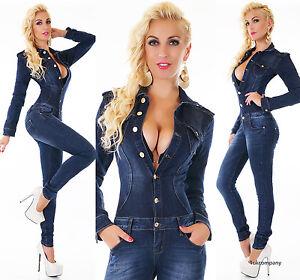 Women's Denim Jumpsuit Dark Blue Wash Skinny Legs Jeans Overall  Size 6-14