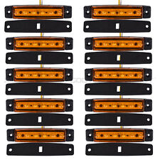 10x 6 LED Amber Clearence Truck Bus Trailer Side Marker Indicator Light Lamp 12V