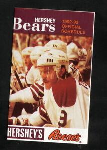 Hershey Bears--Tim Tookey--1992-93 Pocket Schedule--Hershey's/Reese's--Flyers