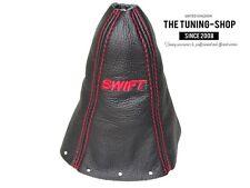 """For Suzuki SWIFT 2005-10 Gear Stick Gaiter Black Leather Red """"SWIFT"""" Embroidery"""