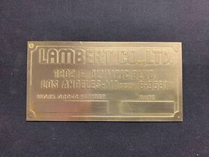 New Lambert Brass Data Tag Hit And Miss Antique Gasoline Engine