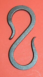 "S-Hook Hanger, Lighting Chain Link, Wrought Iron,1/4"" sq. bar, 3 1/2"" long"